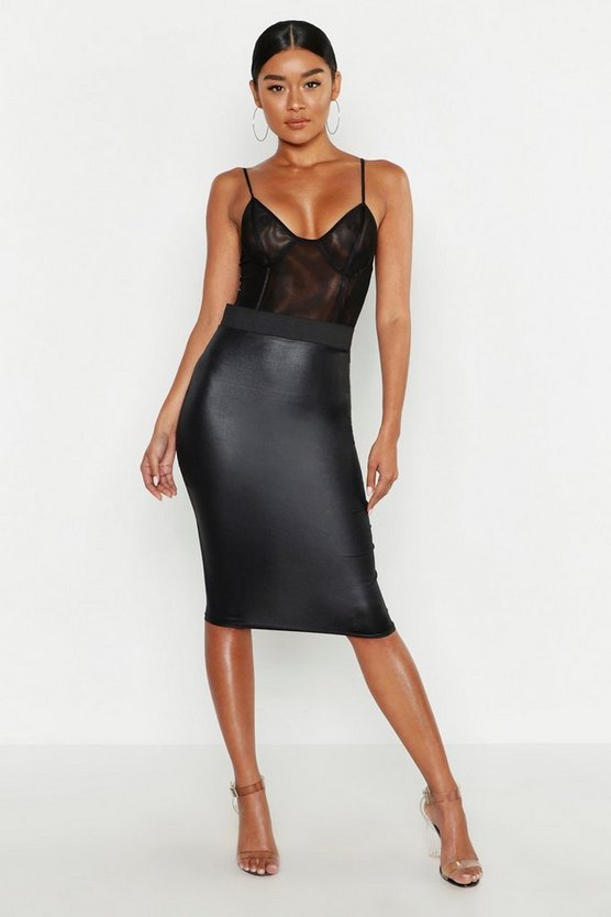 Womens Black PU Leather Look Midi Skirt