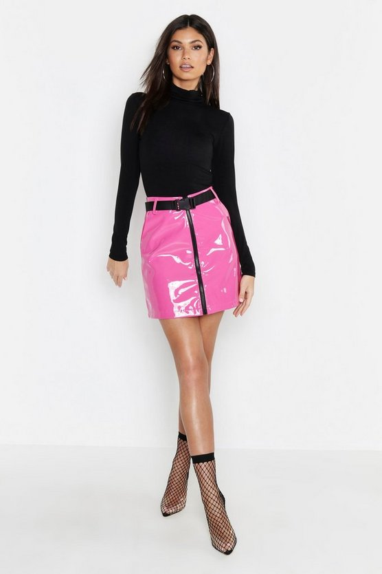 PU Patent Buckle Mini Skirt