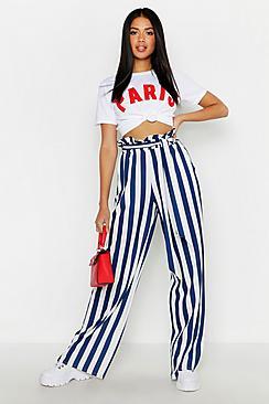 Paperbag Tie Waist Stripe Wide Leg Pants
