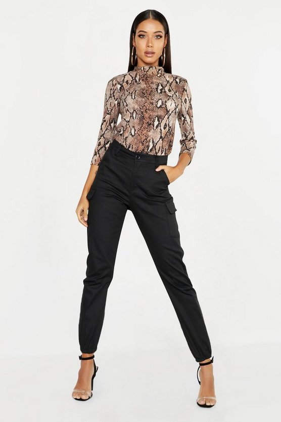 Womens Black High Waist Woven Cargo Pocket Trouser