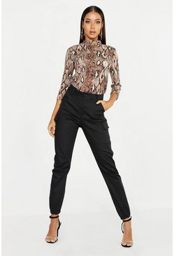 Womens Black High Waist Woven Cargo Pocket Pants