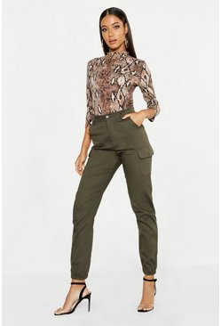 Womens Khaki High Waist Woven Cargo Pocket Pants