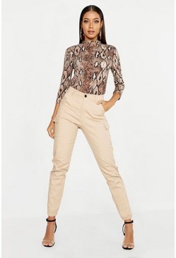 Stone High Waist Woven Cargo Pocket Trouser