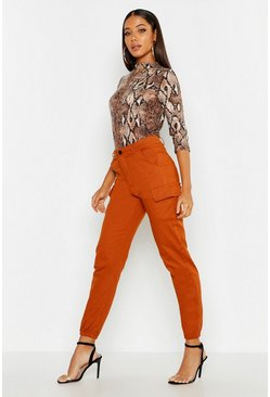 Womens Terracotta High Waist Woven Cargo Pocket Trouser