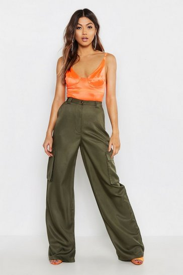 Womens Khaki Cargo Utility Pocket Wide Leg Trouser
