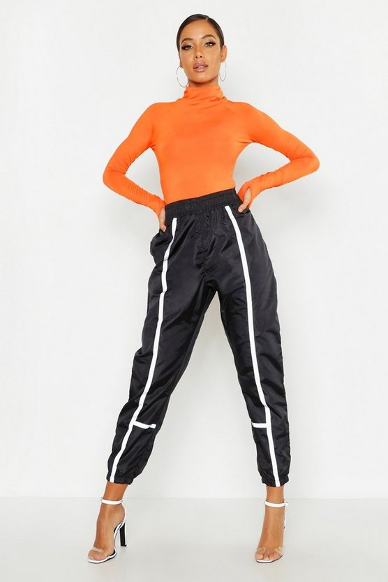 Womens Black High Waist Contrast Piping Shell Jogger