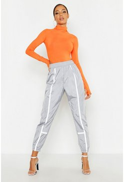 Womens Silver High Waist Contrast Piping Shell Jogger
