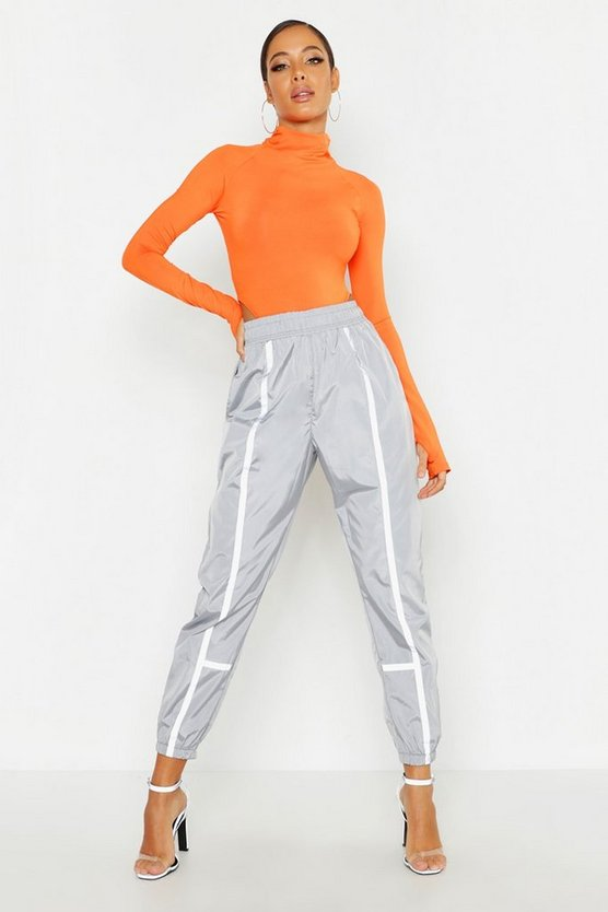 Womens Silver Contrast Piping Shell Jogger