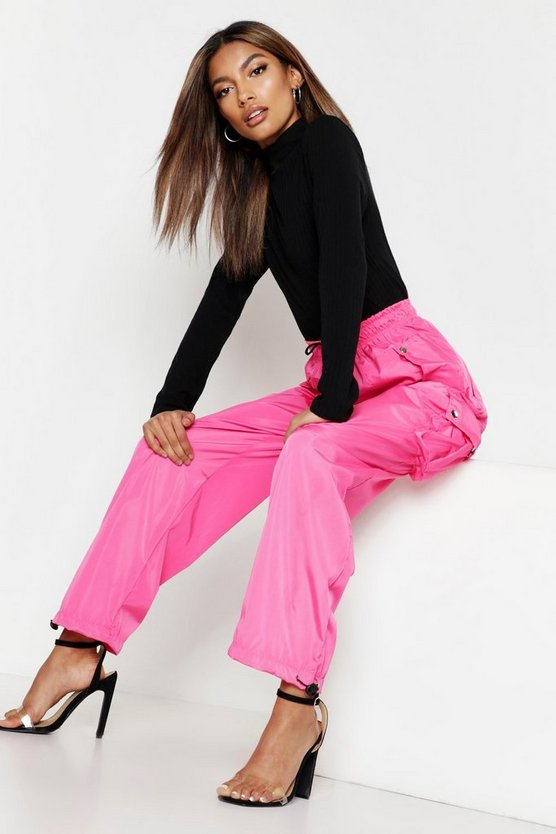 Womens Neon-pink High Waist Neon Cargo Pocket Shell Jogger