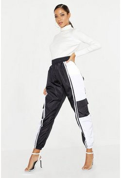 Womens Black High Waist Colour Block Shell Jogger