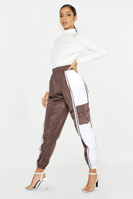 Womens Chocolate High Waist Colour Block Shell Jogger
