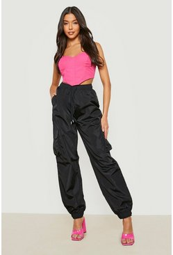 Womens Black High Waist Pocket Side Shell Jogger