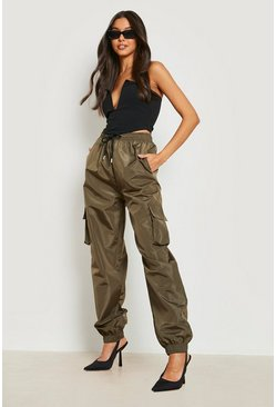 Womens Khaki High Waist Pocket Side Shell Jogger