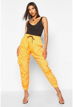 Orange High Waist Pocket Side Shell Jogger