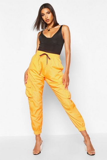 Womens Orange High Waist Pocket Side Shell Jogger