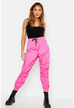Pink High Waist Pocket Side Shell Jogger