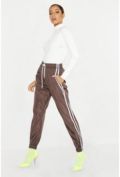 Womens Chocolate Side Stripe Shell Jogger