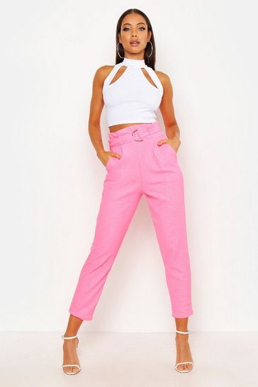 Womens Hot pink Croc Embossed D-Ring Belt Tapered Trouser