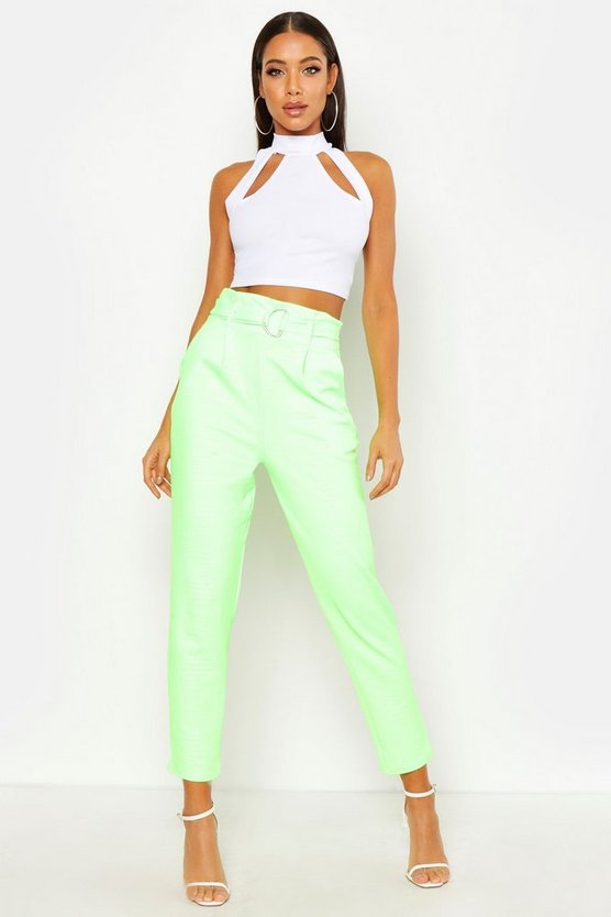 Lime Croc Embossed D-Ring Belt Tapered Pants