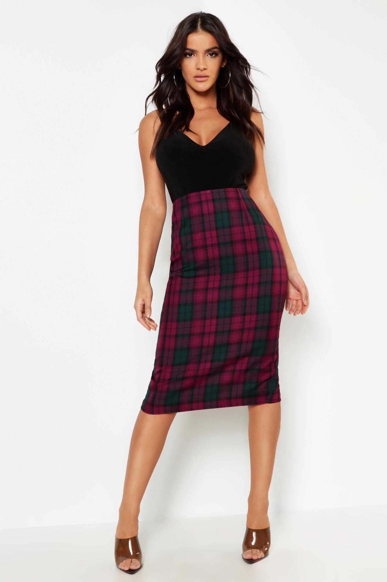 Tartan Check Midi Skirt
