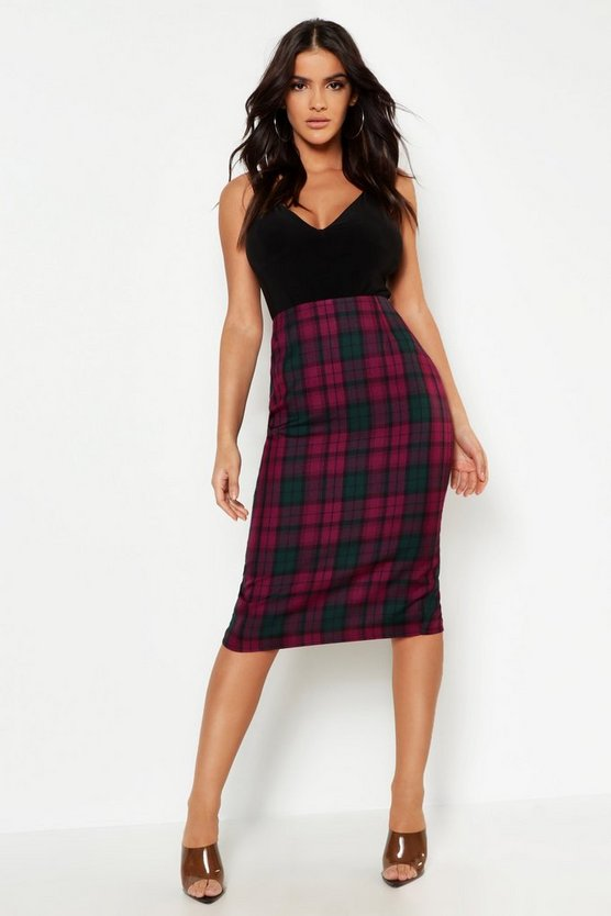 Womens Plum Tartan Check Midi Skirt