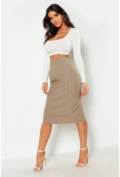 Womens Tan Woven Check Midi Skirt