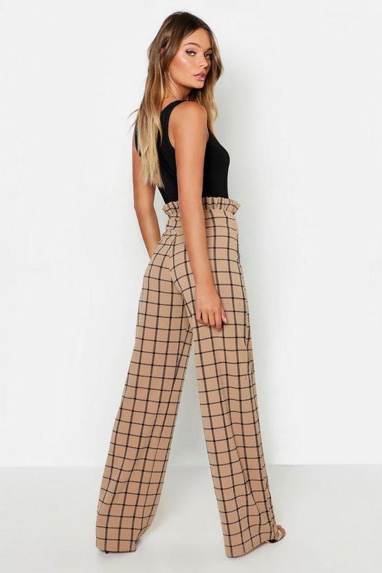 Paperbag Waist Checked Wide Leg Trouser
