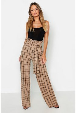 Womens Sand Paperbag Waist Checked Wide Leg Pants