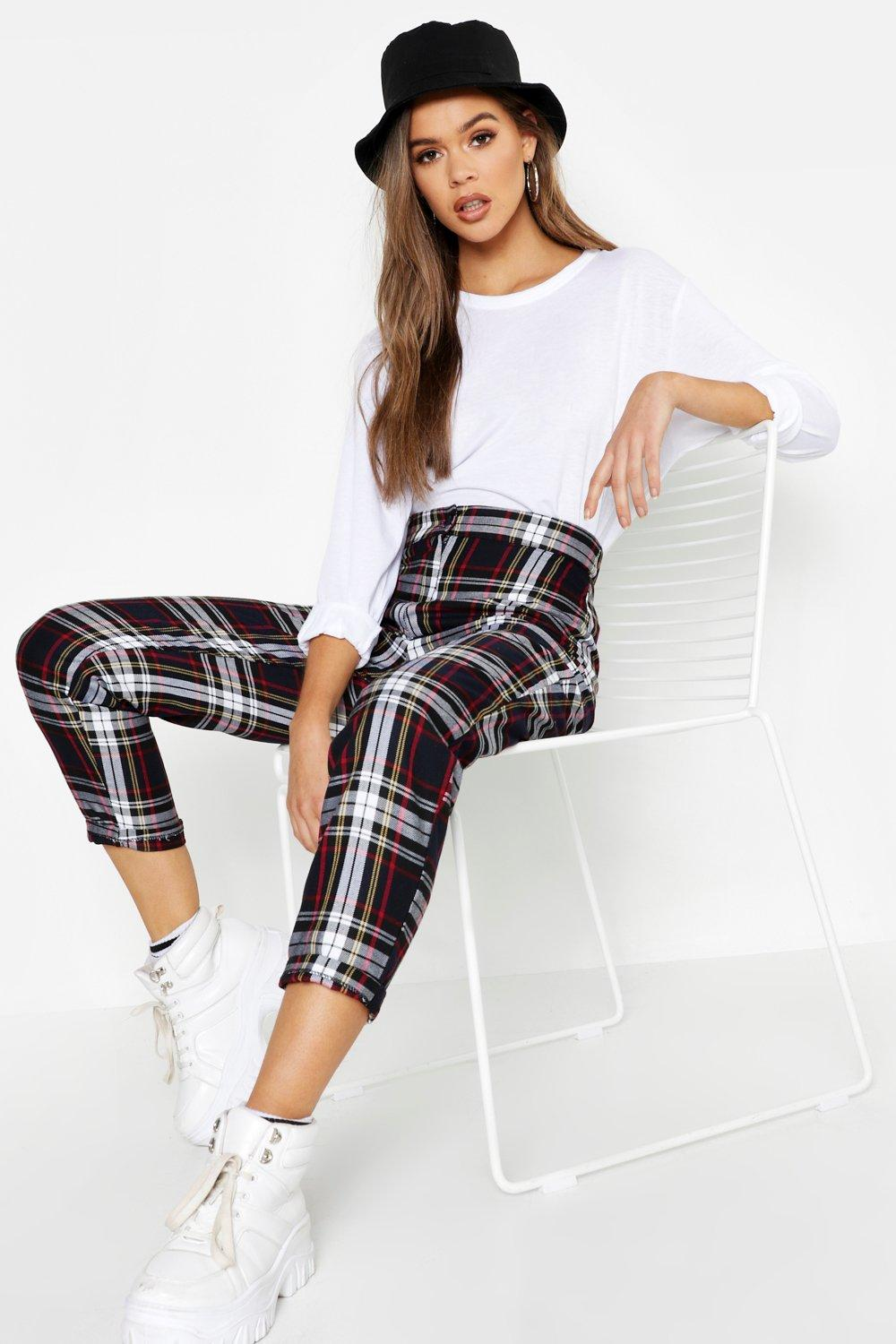 Tartan Check Tapered Trousers