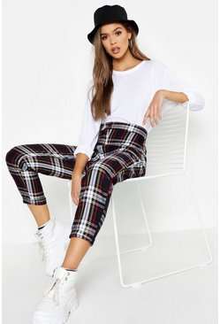 Womens Black Tartan Check Tapered Trousers