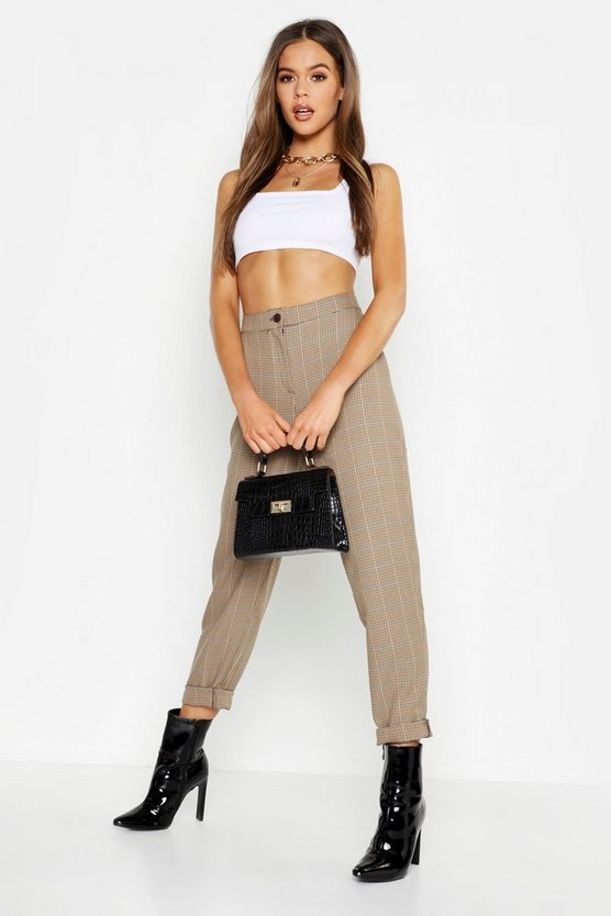 Tan Woven Check Tapered Pants