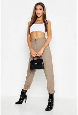 Womens Tan Woven Check Tapered Trousers