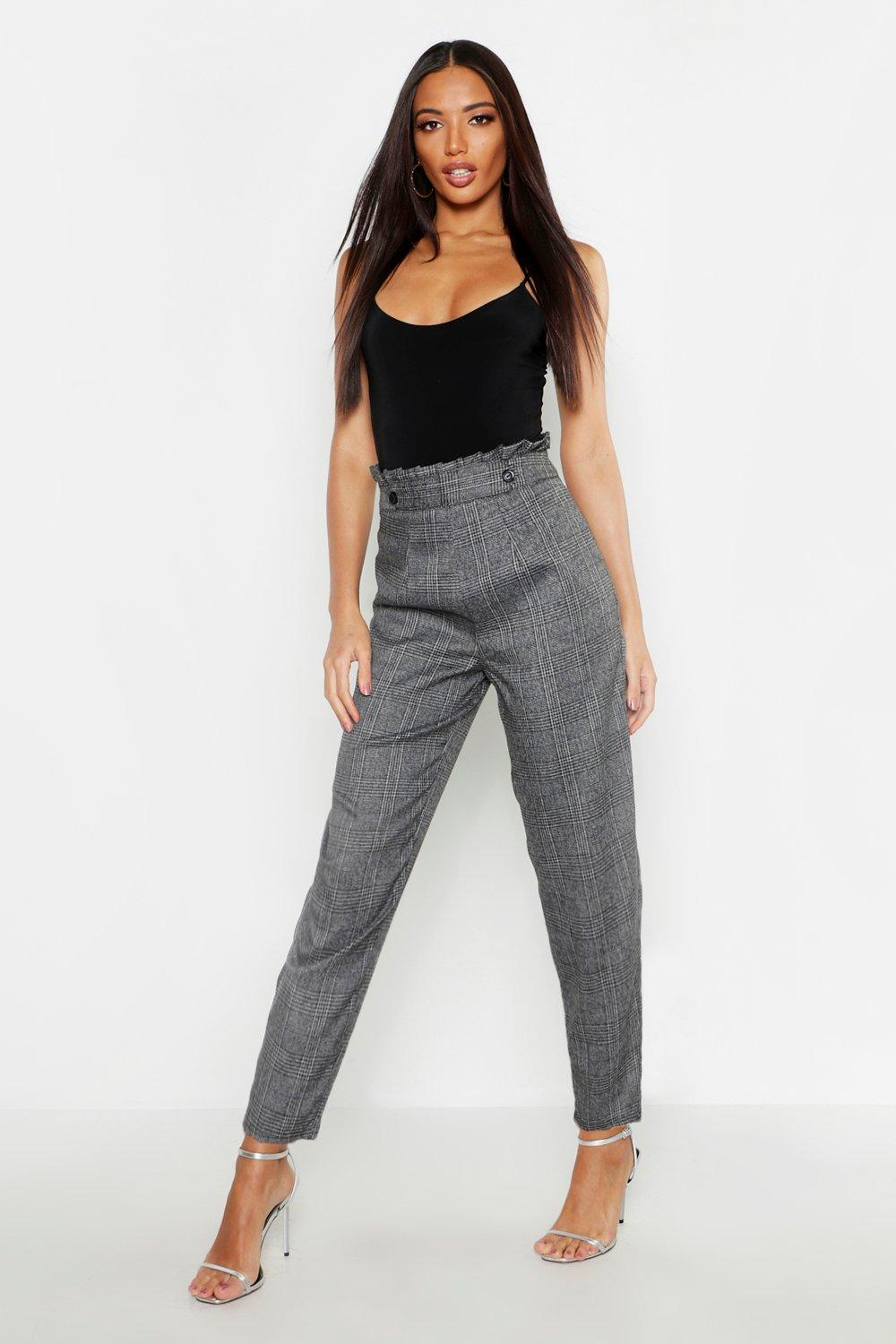 Paper Bag Waist Check Tapered Trousers