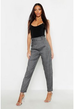 Womens Charcoal Paper Bag Waist Check Tapered Trousers