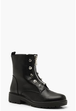 Womens Black Zip Front Studded Biker Boots