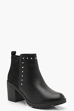 Mixed Material Block Heel Chelsea Boots