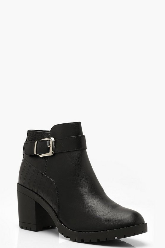 Black Croc Panel Block Heel Chelsea Boots