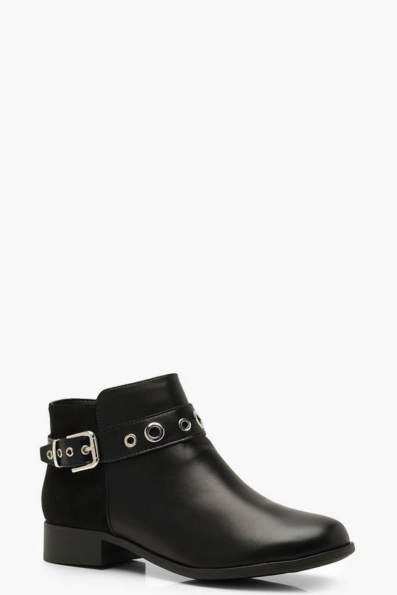 Womens Black Buckle Detail Chelsea Boots