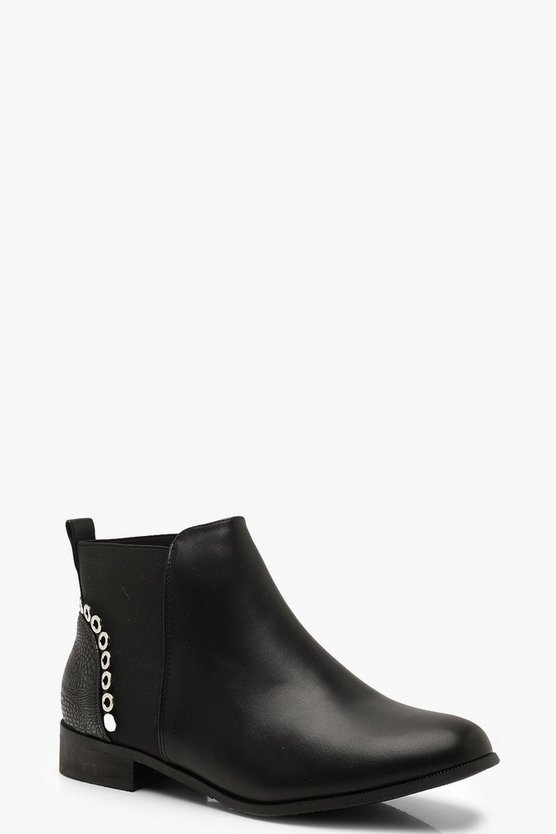 Womens Black Croc Panel Chelsea Boots With Eyelets