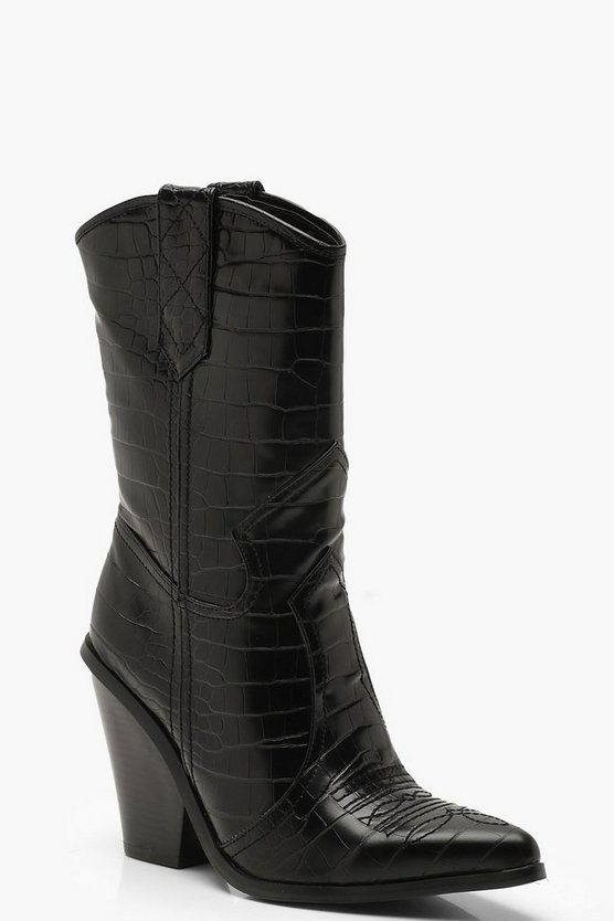 Womens Black Calf High Western Boots