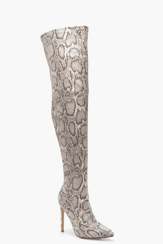Womens Grey Snake Print Over The Knee Boots