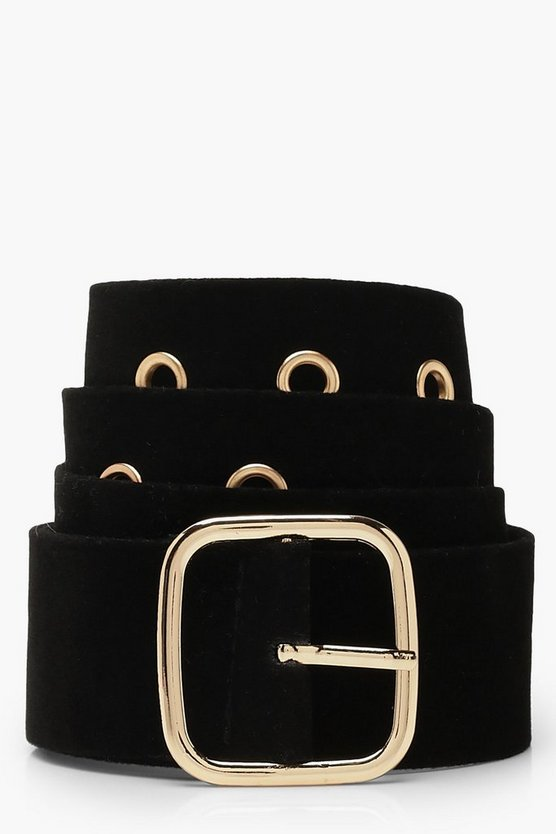 Womens Black Eyelet Belt