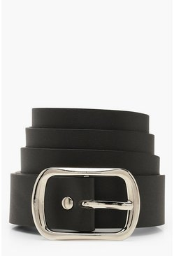 Womens Black Silver Buckle Boyfriend Belt