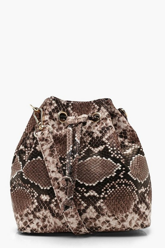 Womens Natural Faux Python Duffle Cross Body Bag