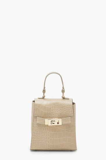Womens Natural Faux Croc Micro Mini Grab Bag