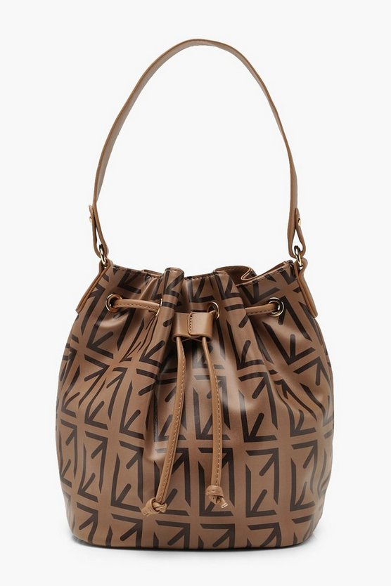 Womens Brown Arrow Print Tonal Grab Bag
