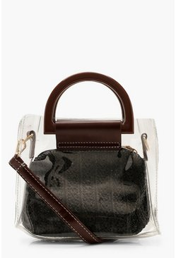 Womens Black Straw Insert Clear Bag