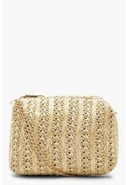 Womens Cream Straw Mini Cross Body Bag