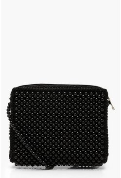 Womens Black All Over Beaded Cross Body
