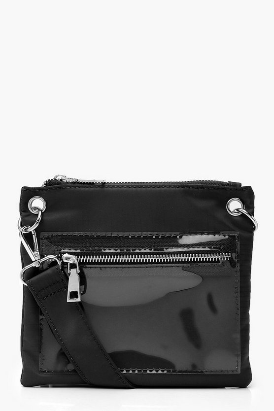 Womens Black Clear Pockets Utility Pouch Bag